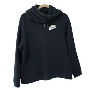 Nike Tech Fleece Black Logo Funnel Neck Hoodie L